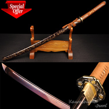 Fantasy Sword Full Tang Handmade Forged Damascus Folded Steel Katana Wooden Scabbard Sharpness For Cutting Paper