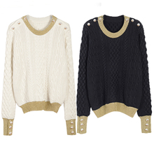 Pull Real Wool 2017 New Winter Sweater Women Mosaic Twist Collar Sleeve Head Loose Coarse Female All-match Bottoming Sweaters