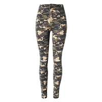 Women XS XL Plus Size Chic Camo Army Green Skinny Jeans For Women Femme Camouflage Cropped