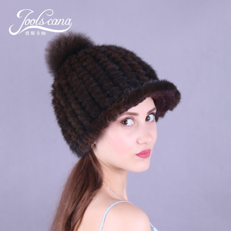 Joolscana winter fur pompom caps winter fur hat real mink knitted women hats with fox pompom with brim skullies autumn beanie girl women brand winter beanie hat cap with real animal fur pompom mink fox large ball crystal floral knitted gorros skullies