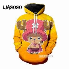 LIASOSO 2018 New Design Anime One Piece Tony Chopper Cartoon 3D Print Women Men Hooded Hoodies Sweatshirts Pullover Hip HopX0193