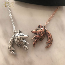 Interlocking Matching Wolf Necklaces Pendants for Men and Women Lover Couple Necklace Antique Silver/Gold Yin Yang