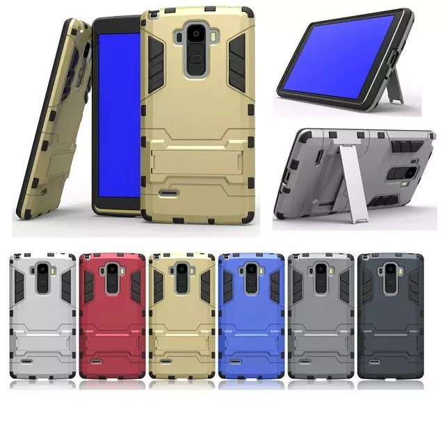 Armor 2 in 1 metal plating plastic silicon hard stand holder Combo case cover for LG Optimus G4 Note G Stylo G4 Stylus LS770