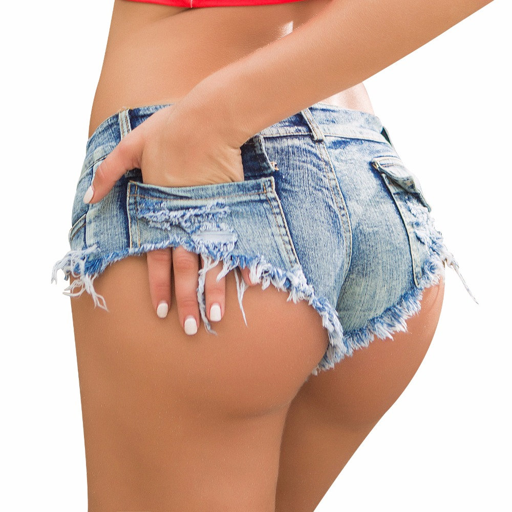 Micro Short Jeans Low-Waist Sexy Femme Women Girls Summer with Thong for Blue Female