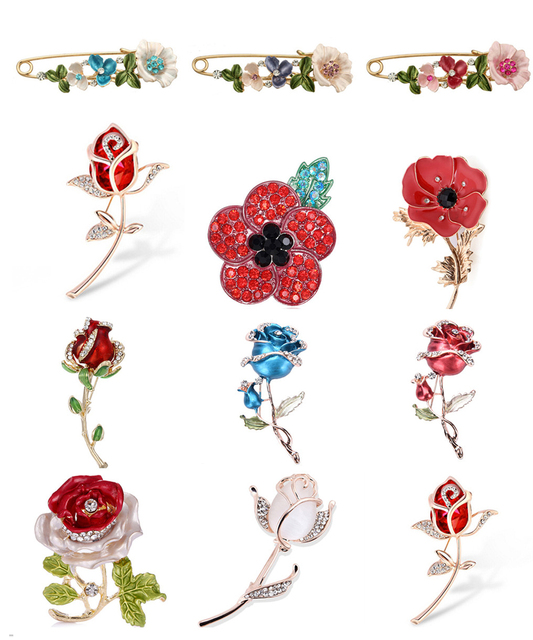 50ee03d79f7 Elegant Tulip Rose Flower Brooch Pin Crystal Costume Jewelry Clothes  Accessories Jewelry Brooches For Wedding