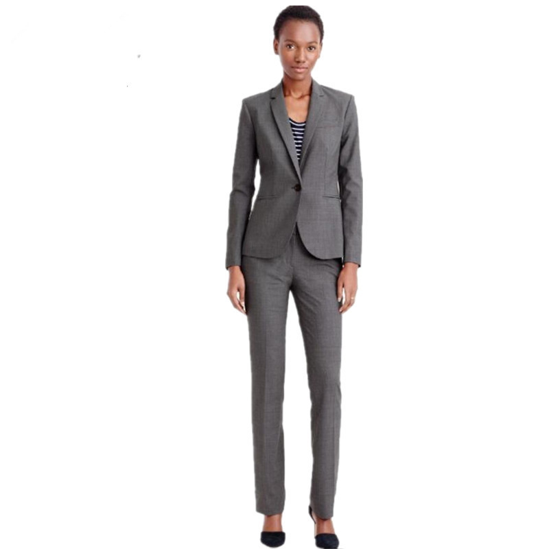 Women Pant Suits Formal Suits Bussiness Gray Elegant 2 Piece Set Blazers And Trousers Office Suits Uniforms Office Pants Suits S