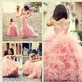 2015 Faça O Costume Rosa Meninas Pageant Vestidos Princesa Vestido De Daminha Tule Até O Chão Vestidos Da Menina de Flor Crianças Pequenas