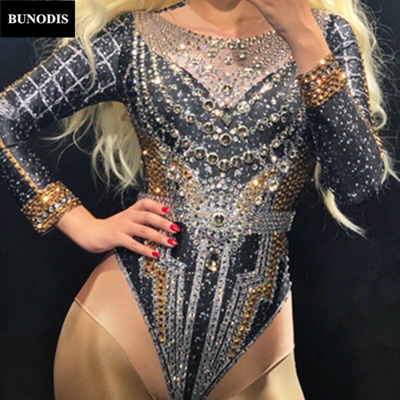 BU223 Для женщин пикантные черные сапоги боди полный серебра и золота сверкающими кристаллами комбинезон для ночного клуба вечерние Этап оде...