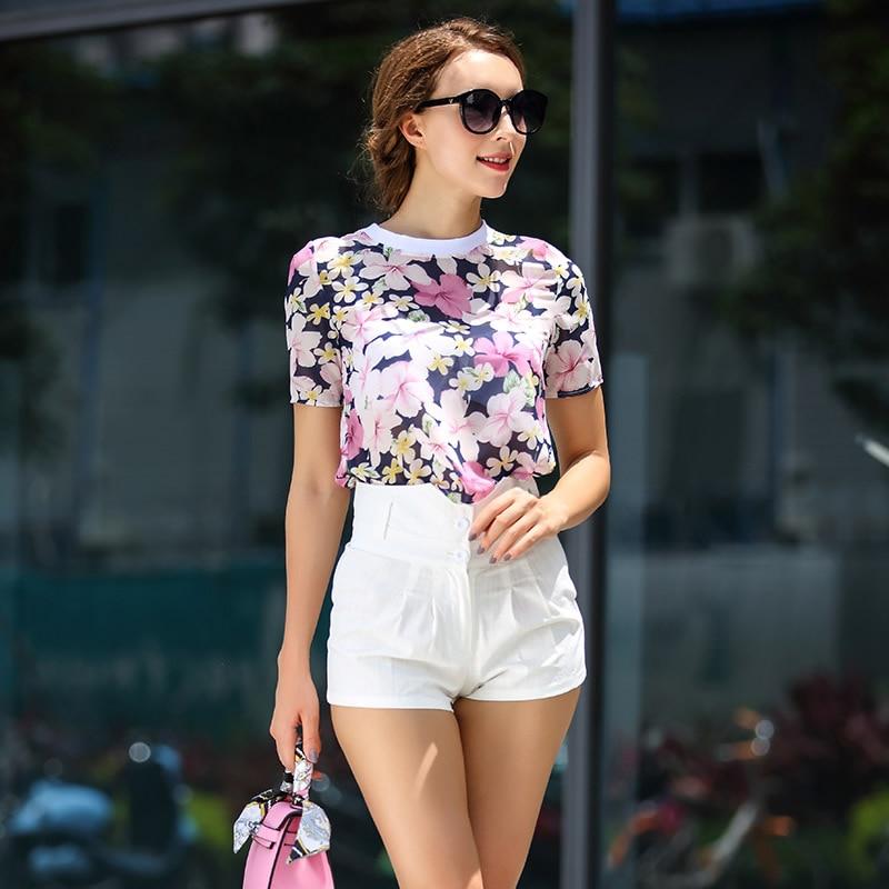 Woman High Waist Cloth Flower Printing Blouse  White Short Set ...