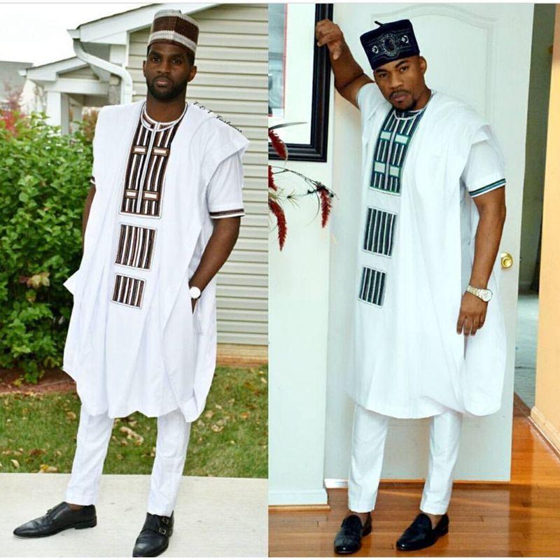 Pas de casquette robe africaine hommes 3 pièces ensemble dashiki hommes chemise afrique vêtements bazin riche vêtements africains broderie hauts pantalons costumes