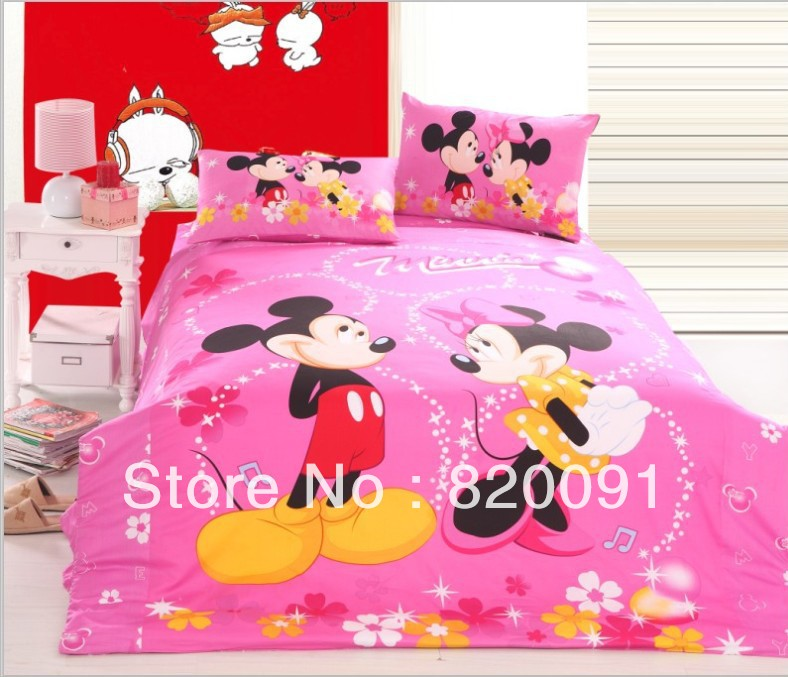 100 cotton pink pop happy mickey u0026 minnie mouse bed sets for kids 3 or 4pcs sizecartoon home bedding set