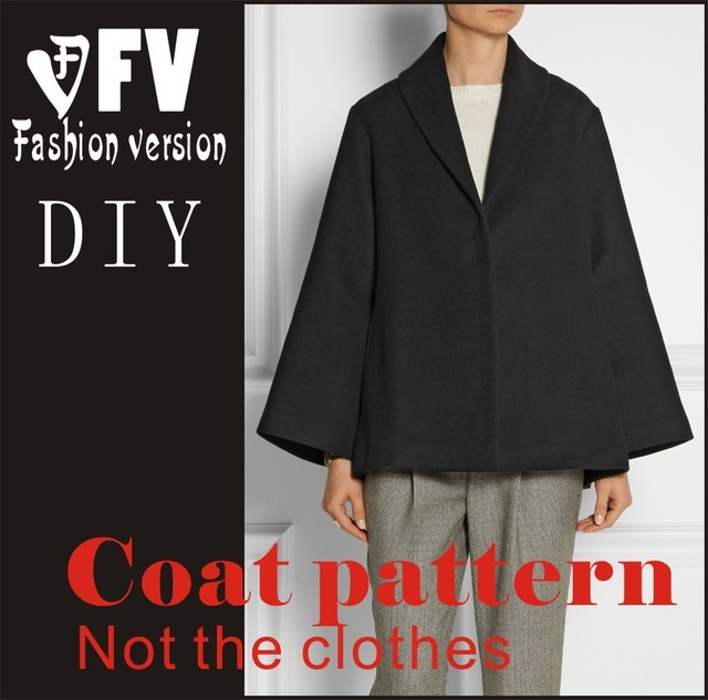Clothing DIY Overcoat Sewing Pattern Coat Sewing Template Cutting ...
