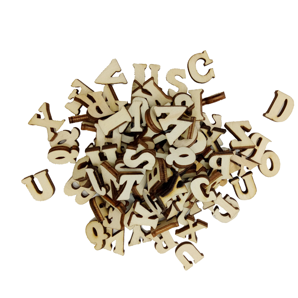 100pcs Mixed Alphabet Wooden Pieces Embellishments for Crafts Scrapbooking Embellishments for Kids Creative Crafts