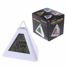 7 Color LED Color Changing Digital Pyramid Thermometer Alarm Clock Home Decor