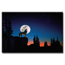 Factory wholesale Night Wolf Landscape Painting Custom Canvas Print On Printing Wall Pictures Home Decoration