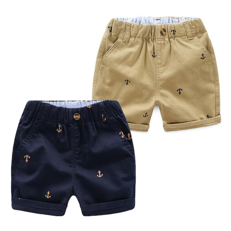 Summer Boys Active   Shorts   Children Cotton Elastic Waist Pants Toddler Kids Knee Length beach Pants Solid Color Baby Boys Clothes