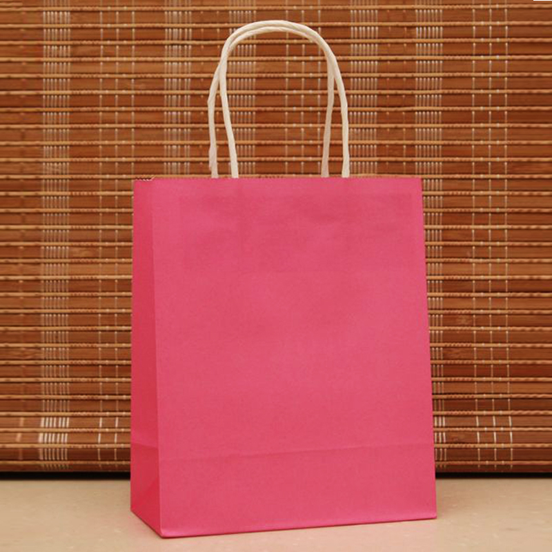 18x15x8cm50pcs/lot Hot Pink Paper Hand Carry Bags Recyclable Gift Jewelry Packaging Shopping Bags For Boutique Z184