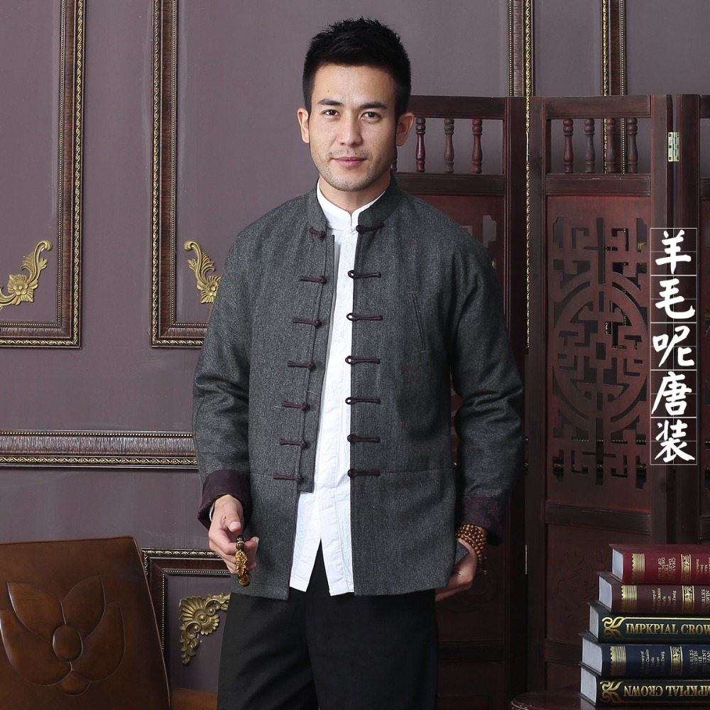 High Quality New Arrival Autumn Winter Chinese Traditional Men S Wool Mandarin Collar Jackets Coats M