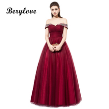 BeryLove Longue Bourgogne Robes De Bal 2018 Hors Épaules Perles Tulle Robes De Soirée Femmes Robes De Bal Robes Occasion Spéciales