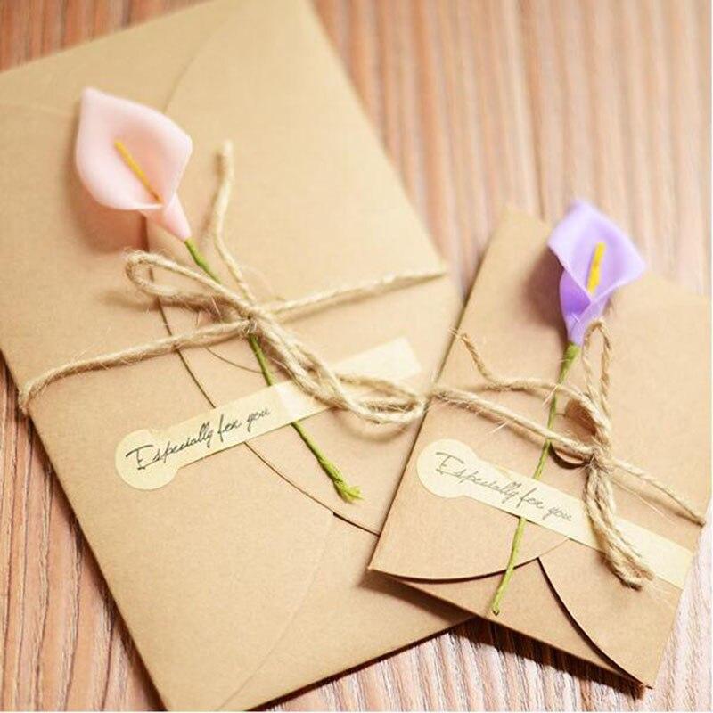 diy retro kraft paper handmade dried flower greeting card