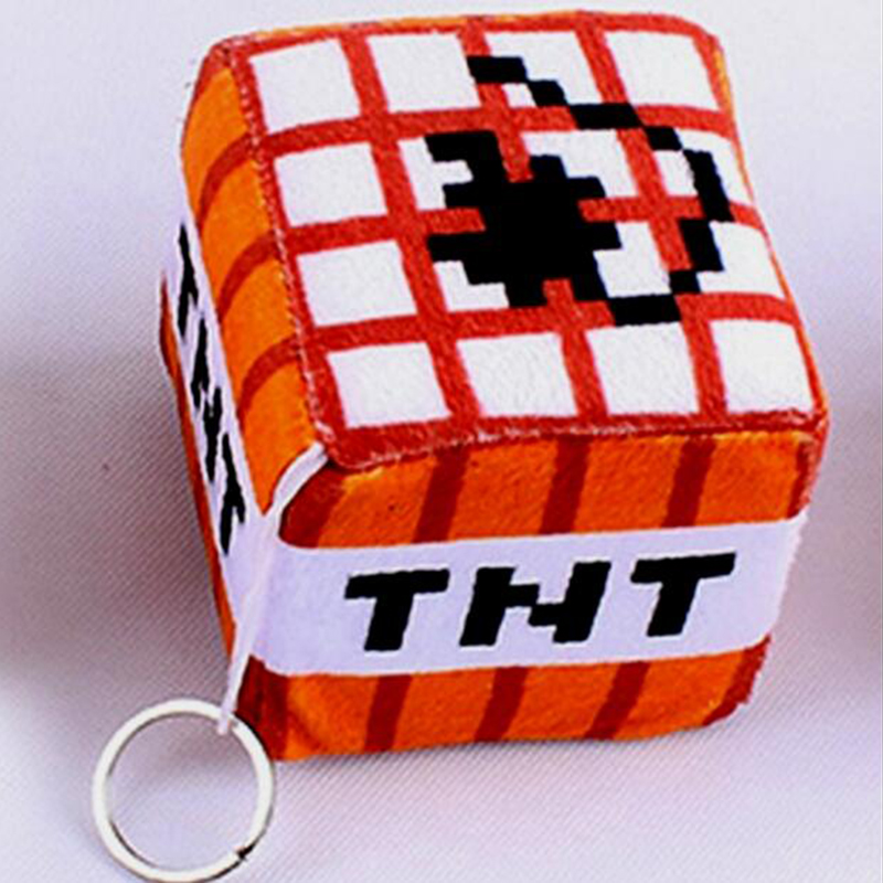 499fa85ecc8556 hot 10cm Minecraft Plush Toys Cotton Stuffed TNT Key Chain Bomb For Kids  gift cartoon plush