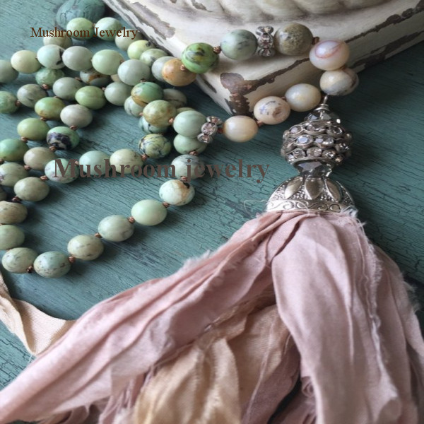 Long Boho Chic Stone Hand Knotted <font><b>Sari</b></font> <font><b>Silk</b></font> <font><b>Tassel</b></font> Necklace image