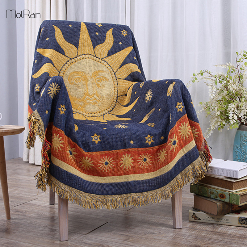 130 180cm Throw Blankets for Beds Chair Knitted India Style Sun Mandala Blanket for Sofa Winter