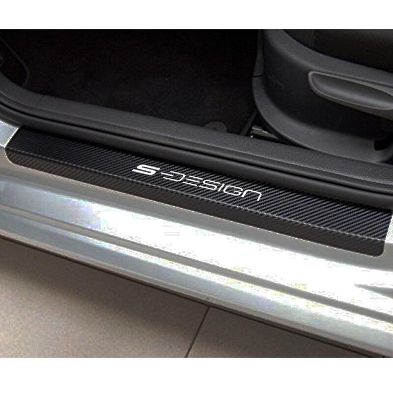 Carbon Fiber S Line Rear Bumper Emblem Vinyl Sticker Protect Sill Plate For Audi
