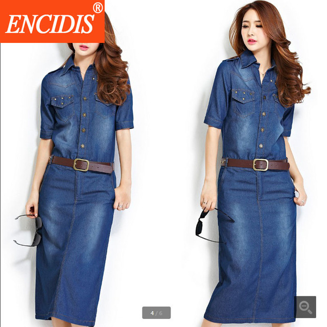496e2044a38 2017 Latest 3XL Plus Size Women Clothing Half Sleeve Summer Denim Midi  Dress Slim Wrap Sexy Blue Jeans Dresses Spring Autumn Q51