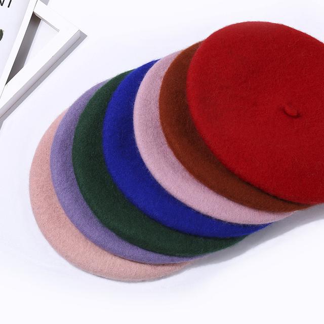 Wool Felt British Style Solid Color Winter Beret Hats