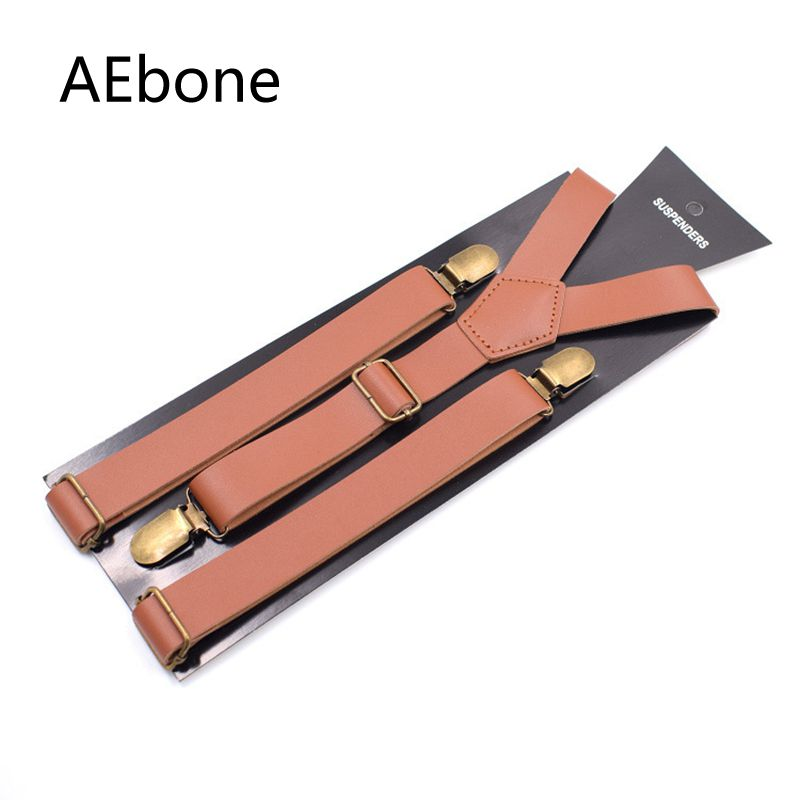 AEbone Pu Leather Suspenders Men For Pants Vintage Brown Trousers Strap Man Bretele Masculino Brown Coffee 2.5*110cm Sus33
