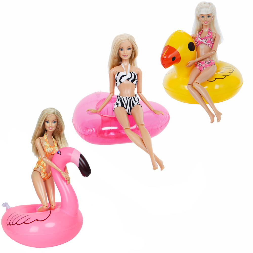 Handmade Mixed Style Swimsuit Summer Beach Party Swimwear Sexy Bikini + Cute Swim Ring Clothes For Barbie Doll Accessories Toy