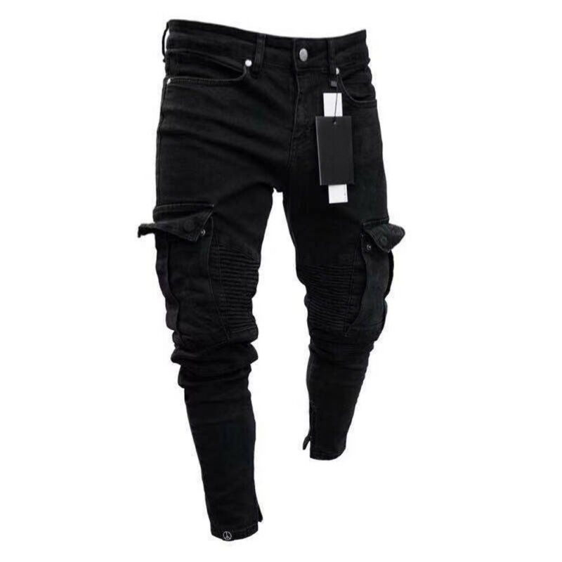 Jean Pencil-Pants Slim-Fit Cargo Skinny Black Plus-Size Fashion Pocket Denim Destroyed title=
