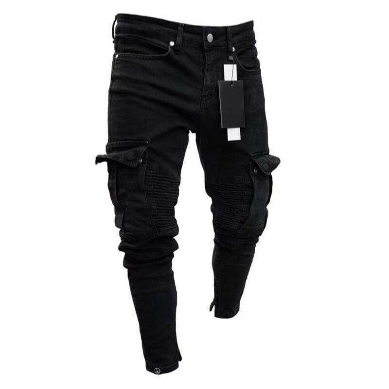 2019 De Moda Negro Jean Hombres Denim Skinny De Motorista Jeans Destruidos Deshilachado Slim Bolsillo De Carga Pantalones De Talla Grande S 3xl Pantalones Informales Aliexpress