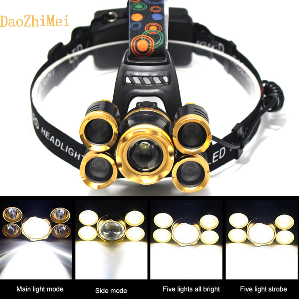 rechargeable led headlamp 1T6 4XPE head flashlight xml t6 head lamp waterproof lights headlight 18650 battery 2 in 1 waterproof headlamp headlight xml t6 outdoor sports head lamp front bikelight& 4 18650 battery pack worked charger