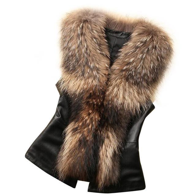 Faux Fur Women Leather Vest Fur Collar Elegant Winter Warm Coat Manteau Femme Hiver 2016 Winterjacken Damen#B12