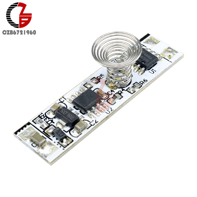 DC 12V Capacitive Touch Sensor Switch Coil Spring Switch LED Dimmer Control Switch 9-24V 30W 3A for Smart Home LED Light Strip