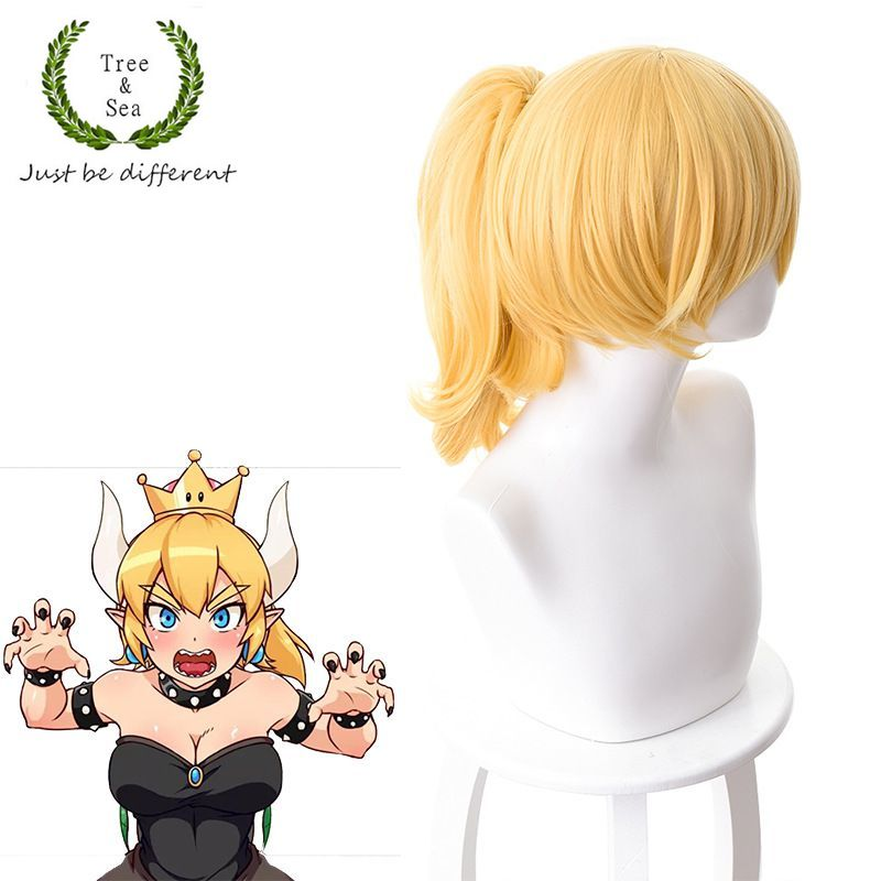 Super Mario Bowsette Kuppa Koopa Hime Princess Cosplay Hair Wig Ponytail costumes