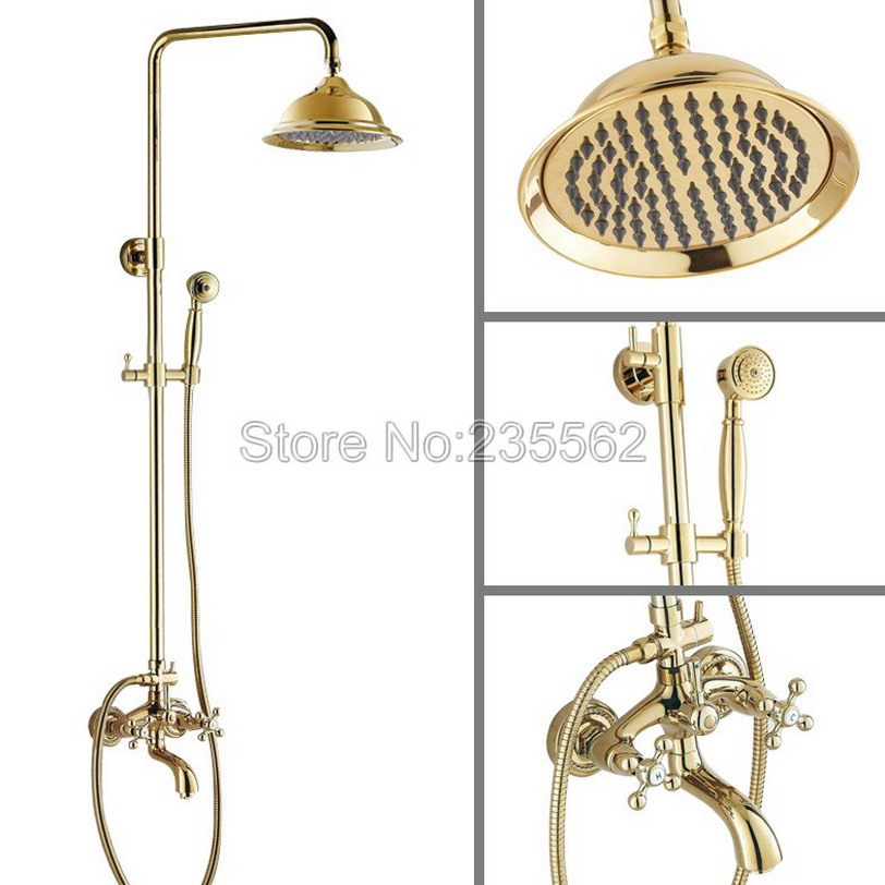 Wall Mounted Bathroom Rain Shower Faucet Set Gold Color Brass Finish with Bathtub Mixer Tap + 8.2 inch Shower Heads lgf443