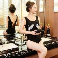 Mujeres de una pieza trajes de baño mujeres de gran tamaño traje de baño bañadores mujer playa Natación para push up traje de baño 2018 nuevo negro cráneo