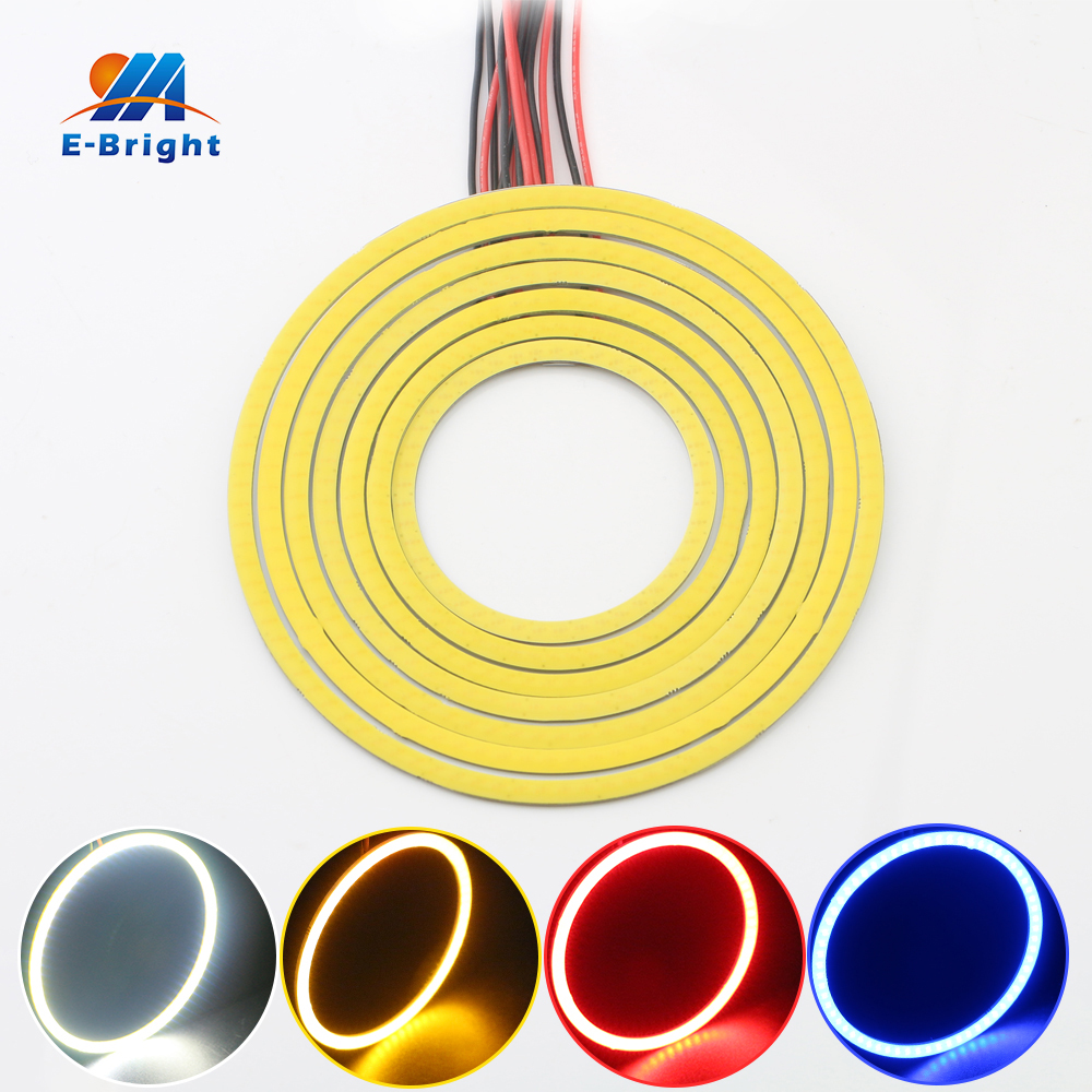 1 Pair 100mm 12v COB 72 SMD Colorful RGB LED Car Halo Rings Light Waterproof LED Angel Eyes Car Headlight for Universal Car 80 mm 12v cob car led angel eyes halo rings with lampshade 63smd halo anneau colorful led headlights white yellow red blue light