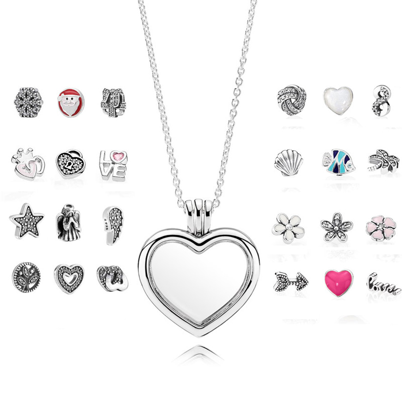 S925 Sterling Silver Necklace Love Heart Floating Locket Pendant Necklace For Women Wedding Gift fit Lady Fine Jewelry vintage heart shape locket necklace for women