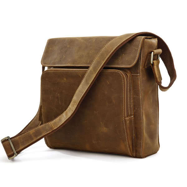 Nesitu High Quality Vintage Small Brown 100% Real Genuine Leather Crazy Horse Leather Men Messenger Bags Cowhide #M7051