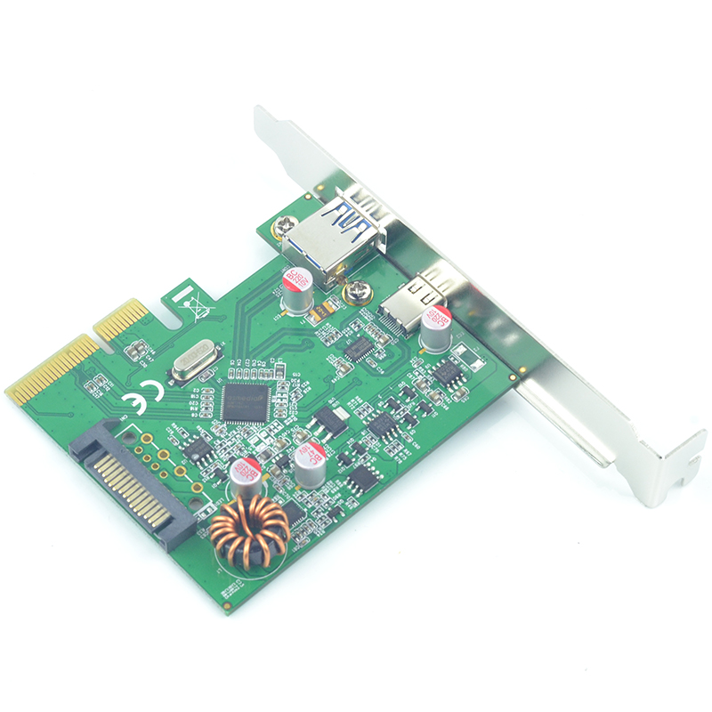 10Gbps  USB3.1 Type-C + Type-A PCI-e PCIex4  Card IC Chip ASMedia  Solid Capacitor Resettable Fuse