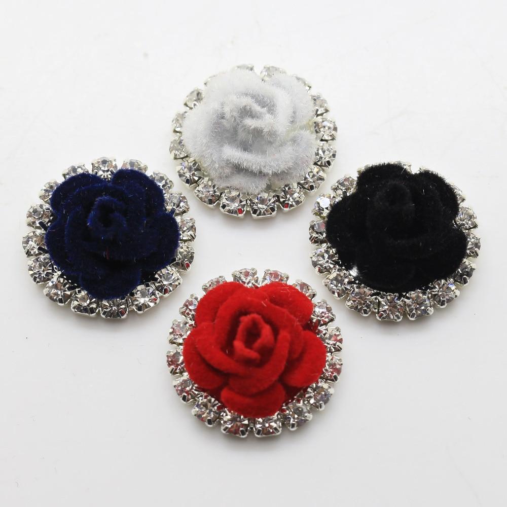 Hot sale 10pc rhinestone Roses wedding invitations decorate hair ...