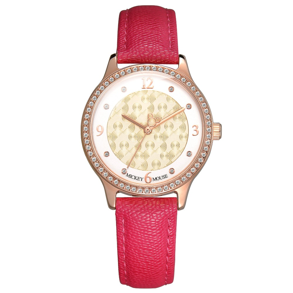Disney Genuine leather woman watches luxury diamond quartz ladies clocks Mickey mouse red pink white band waterproof wristwatch