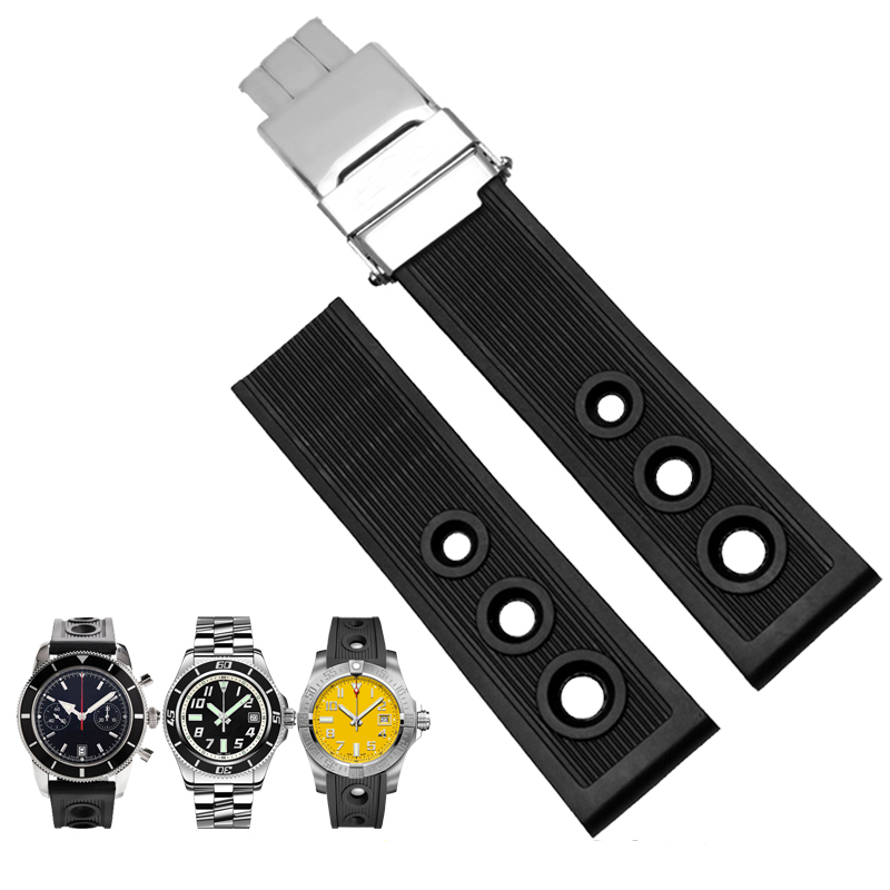 TJP Brands Silicone Rubber Watch Strap 22mm 24mm Black Watchbands Bracelet For Breitling Nnavitimer Avenger Wristband jansin 22mm watchband for garmin fenix 5 easy fit silicone replacement band sports silicone wristband for forerunner 935 gps