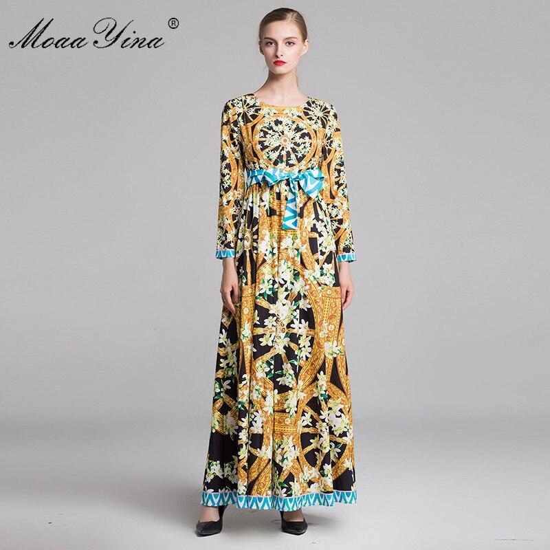 2bc85270df69 In Pizzo Floreale Lunghe Donne Boemia Della A Modo Vintage Maniche Delle Vestito  Abiti Di Maxi Moaayina Del Stampa Elegante ...