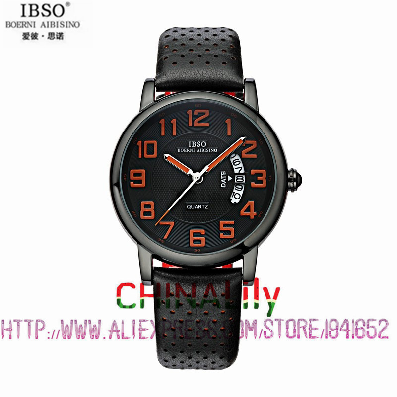 2015 Selling Brand IBSO BOERNI AIBISINO  Unisex Ultra Thin Round Dial Analog Wrist Watch with Waterproof & Leather Band 3680 natate ibso women quartz watch crystal decorated large round dial analog wrist watch with waterproof woman leather band s3819