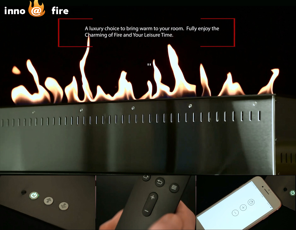 On Sale 36 Inch Smart Control Black / Silver Bio Ethanol Fireplace Insert